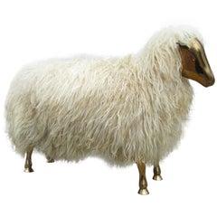 Bronze and Wool Sheep Sculpture
