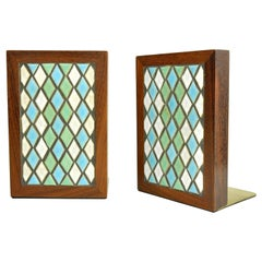 Pair of Jane & Gordon Martz for Marshall Studios Tiled Walnut and Brass Bookends