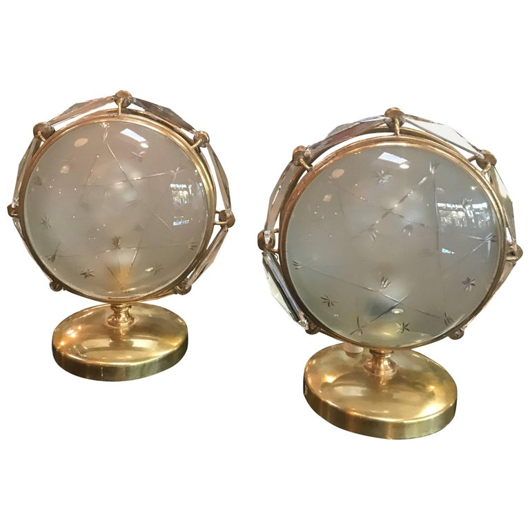 Italian Table Lamps in Brass and Worked Glass For Sale