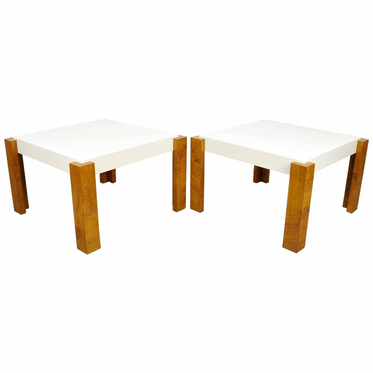 Milo Baughman for Thayer Coggin Burlwood and White Lacquer Side Tables