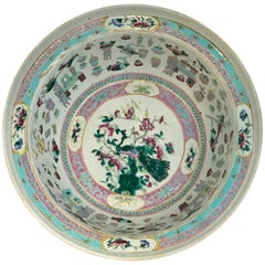 Large Qing Dynasty Famille Verte Peacock and Vase Motif Bowl