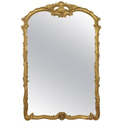 Fine Waterleaf Carved Giltwood Pier Mirror, Early 20th Century