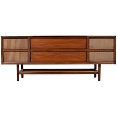 Danish Walnut Credenza Style GE Console Tubed Stereo, Fully Serviced and Working