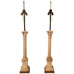 Pair of Marble Column Lamps on Gold Leaf Base