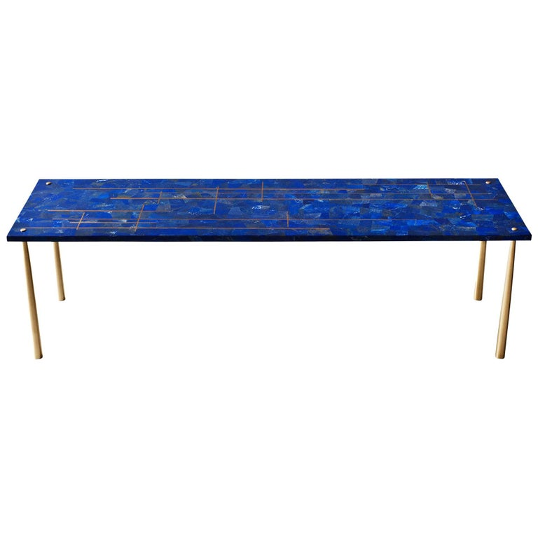Azure Coffee or Cocktail Table by DeMuro Das in Lapis Lazuli and Brass Inlay