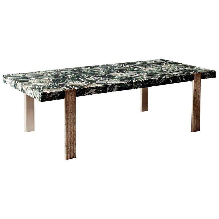Capital Coffee Table by DeMuro Das in Green Zebra Agate with Cast Bronze Legs