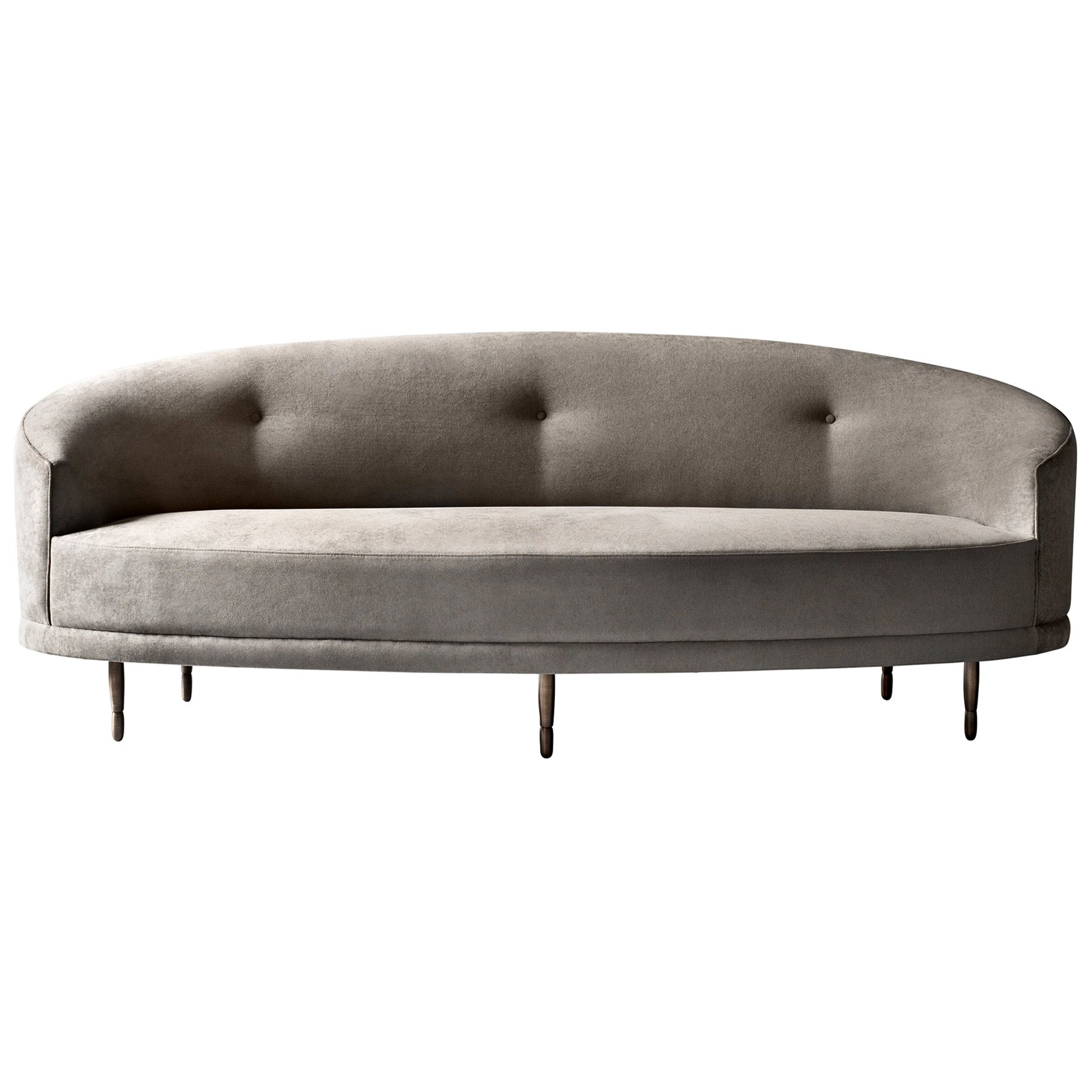 Claire Sofa or Settee by DeMuro Das with Solid Antique Finish Bronze Legs