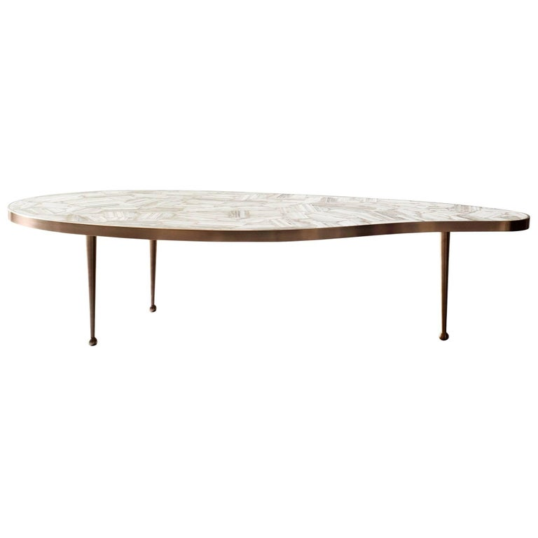 Lola Coffee Table by DeMuro Das in Banded White Agate and Brass For Sale