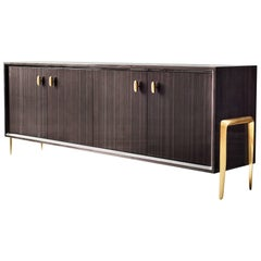 Serge Cabinet by DeMuro Das in Glossy Grey Tulip with Hand-Cast Bronze Legs