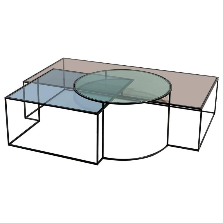 Geometrik Coffee Table, Contemporary Architectural Steel Coffee Table For Sale