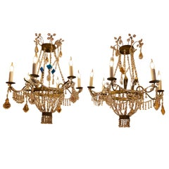 Pair of Small Chandeliers, Brass and Hand-Cut Crystal, 19th-Century