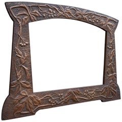 Arts and Crafts Hand Hammered & Embossed Copper Wall Mirror / Picture Frame
