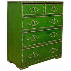 Antique Chest of Drawers, Leather, Studded Finish, English, Victorian Circa 1860