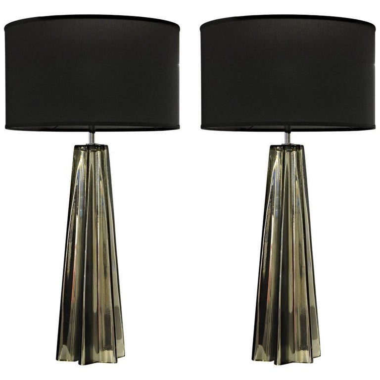 Alberto Donà Pair of Cone Star-Shaped Table Lamps, Murano Mercury Glass