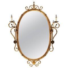 Mid-Century Italian Oval Illuminated Mirror in Faux Bamboo