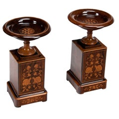 Fine Pair of 19th Century Rosewood Tazzas on Marquetry Pedestals