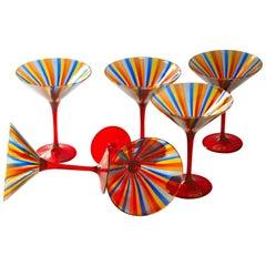 Six Martini Glass, Cenedese a Canne, Cadmium Red Stem, Signed, circa 1960