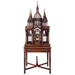 Early 20th Century Architectural Mahogany Cathedral Birdcage