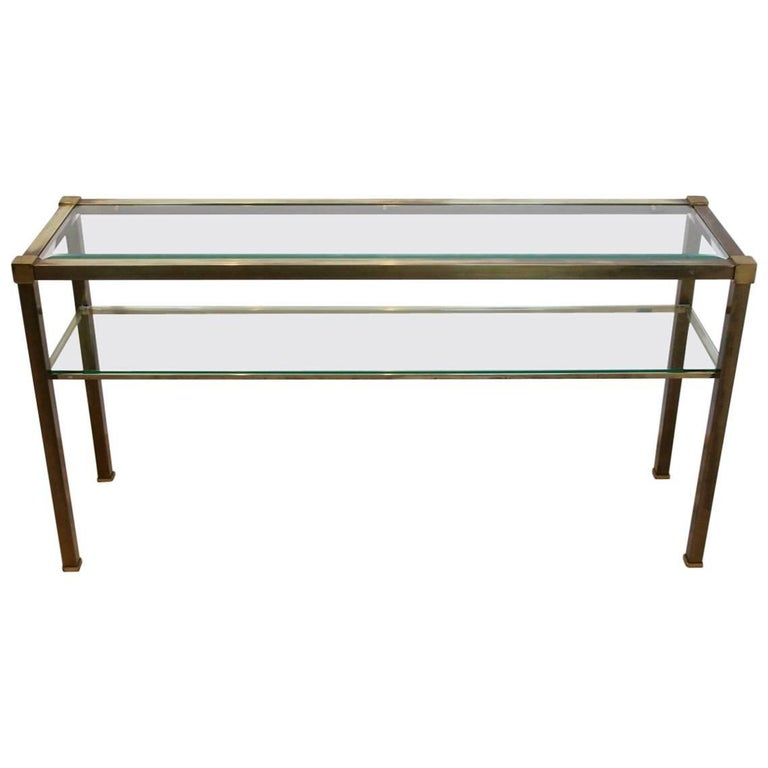 French Two-Tiered Console with Patinated Brass and Facet Glass Top