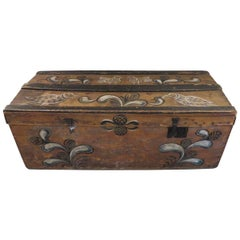 19th Century Swedish Painted Wooden Folk Art Trunk