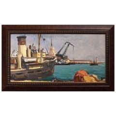 Soviet Era Painting of a Russian Harbor by Oleg Berngard