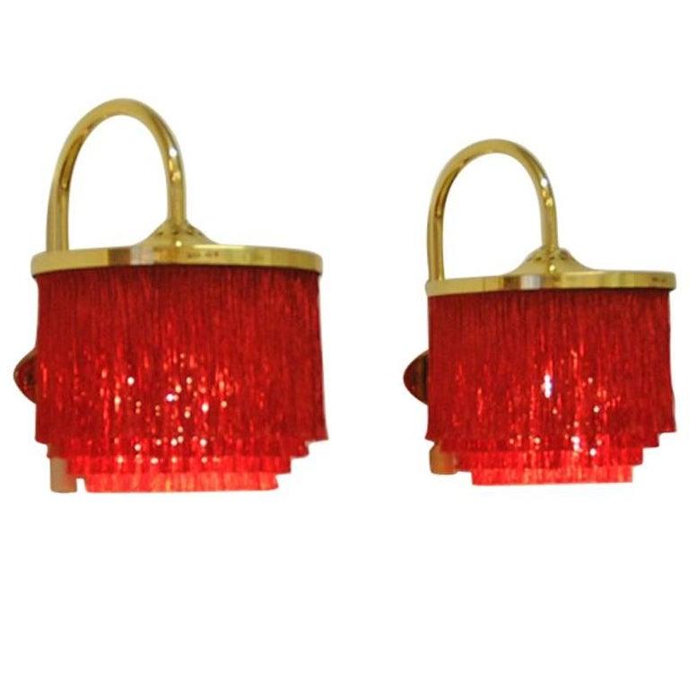 Pair of Red Silk Fringe Wall Lamps V271 from 1960`s, Hans-Agne Jakobsson, Sweden