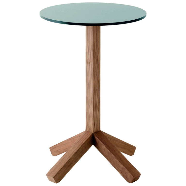 Roda Root 067 Outdoor Side or Coffee Table in Teak with Stone or Grey HPL Top