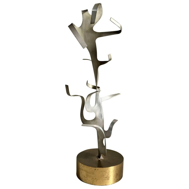 Sculpture Tree in Aluminium and Brass, France, 1970