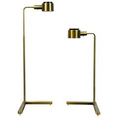 Pair of Casella Brass Adjustable Floor Lamps