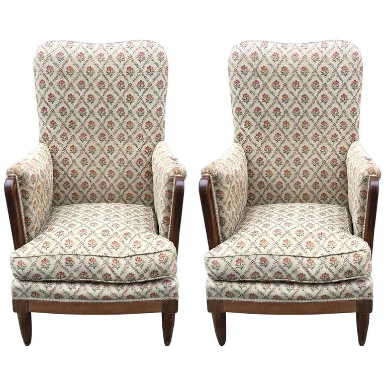 Pair of Art Deco mahogany armchairs circa 1925