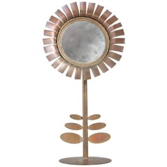 1970s Brass Chaty Daisy Mirror