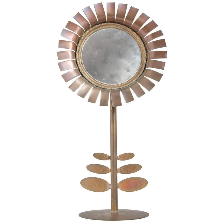 1970s Brass Chaty Daisy Mirror