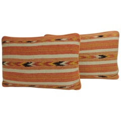 Pair of 19th Century Orange and Yellow Turkish Woven Lumbar Decorative Pillows
