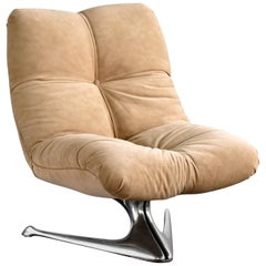 Vladimir Kagan, Unicorn Lounge Chair, Original Beige Suede, Aluminium, 1963