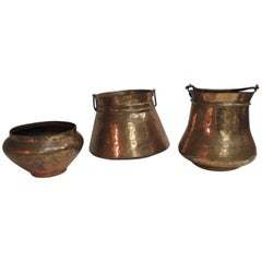 Vintage Set of Indian Polished Copper Decorative Vessels