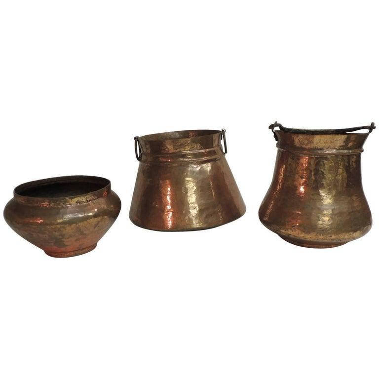 Vintage Set of Indian Polished Copper Decorative Vessels For Sale