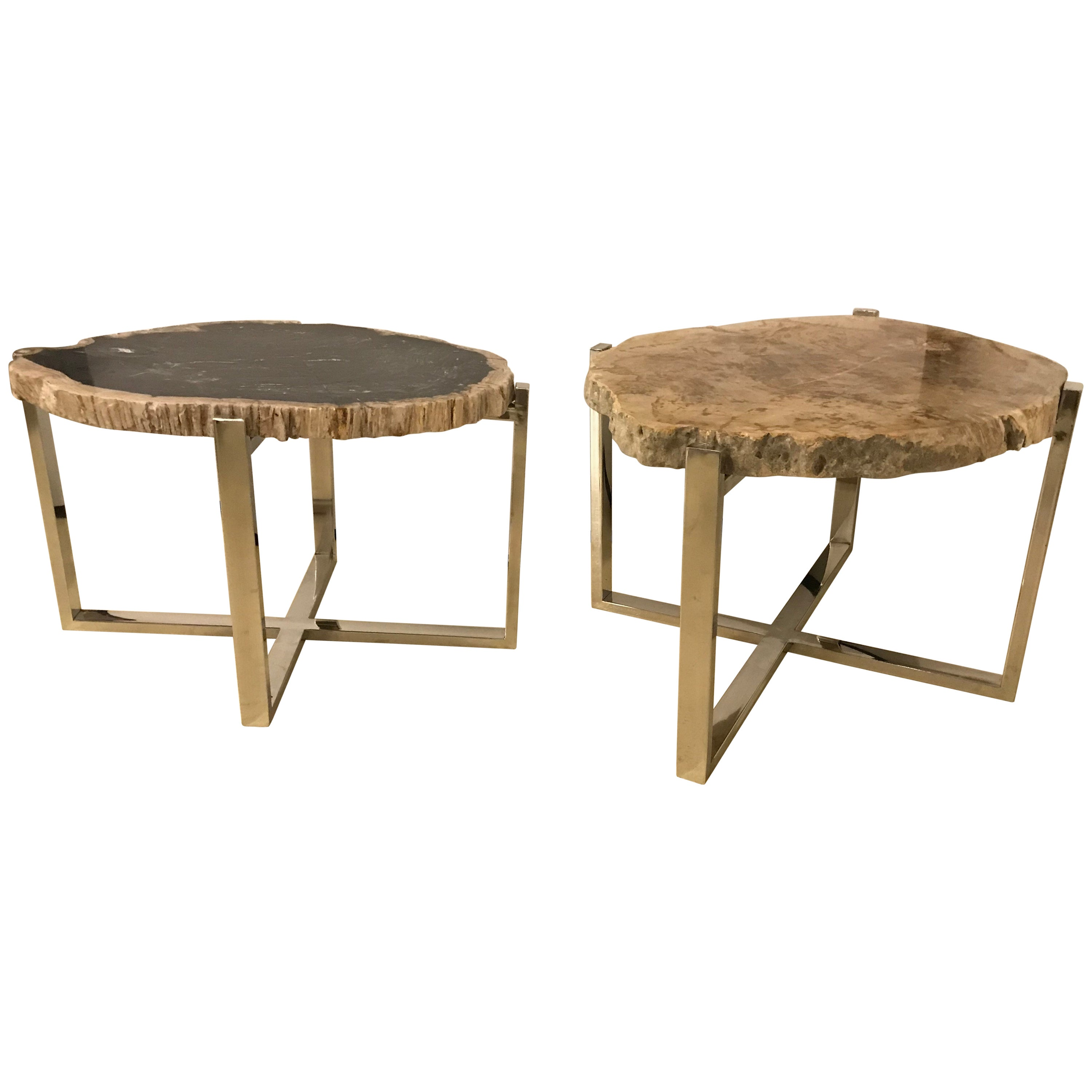 Compatible Pair of Marble Chrome Based Hollywood Regency Style Side End Tables