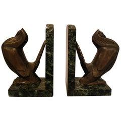 Art Deco Turkey Bronze Bookends Signed Irenee Rochard