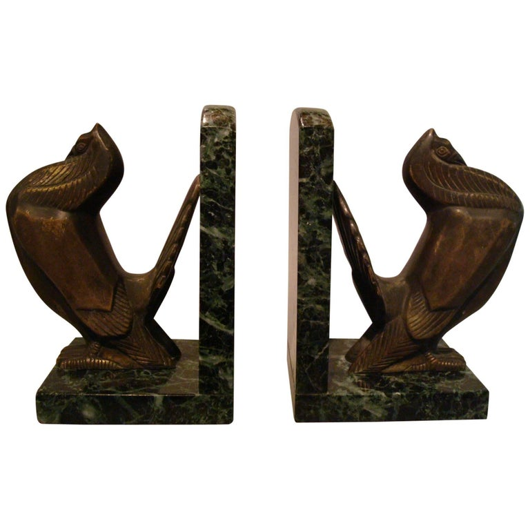 Art Deco Turkey Bronze Bookends Signed Irenee Rochard