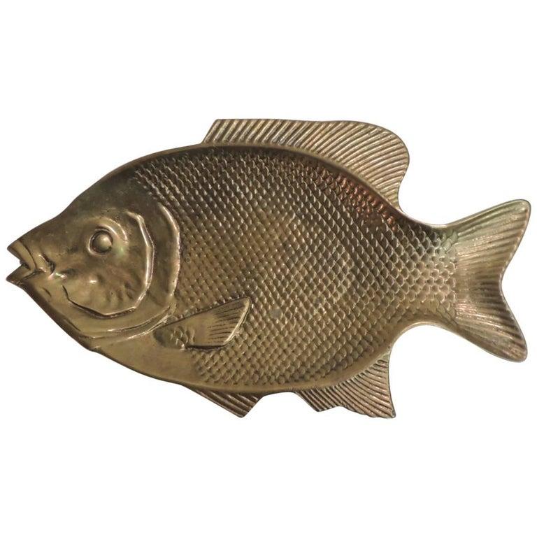 Vintage Large Brass Serving Fish Platter