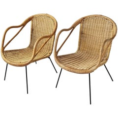 1950s, Wicker Chair on Iron Legs and Structure, Italia