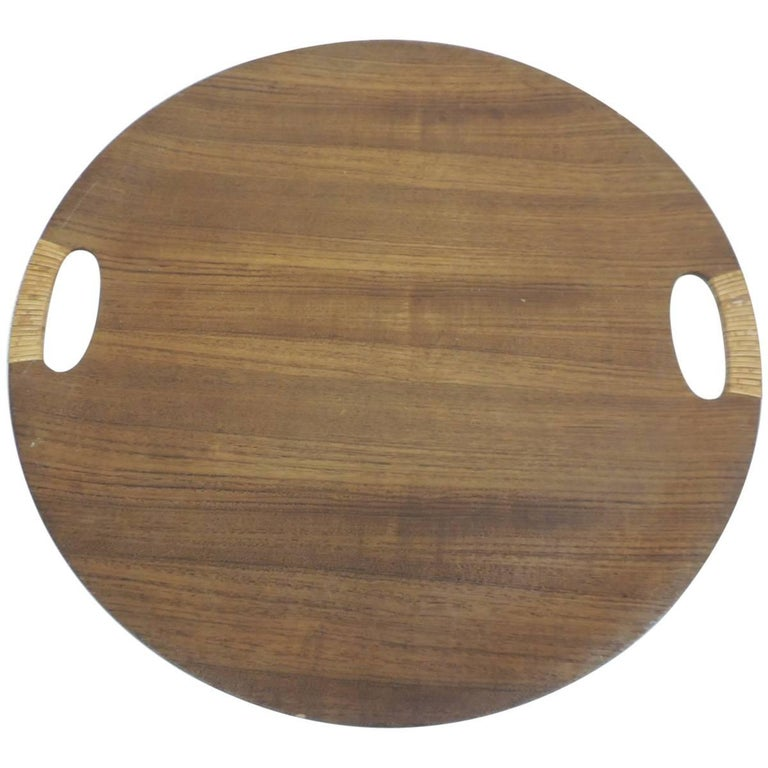Vintage Rattan and Wood Round Danish Serving Tray with Rattan Handles For Sale