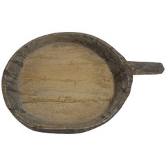 Vintage African Wood Hand-Carved Artisanal Tribal Bowl with Handle