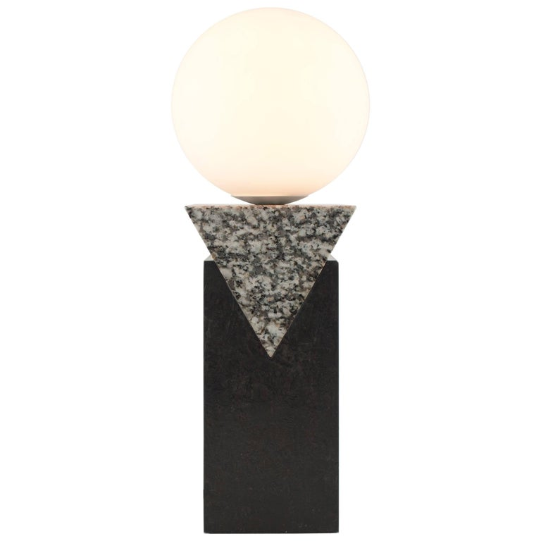 Contemporary Monument Lamp Triangle in Granite, Solid Steel and Glass