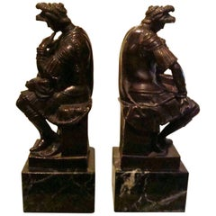 "Thinking Roman Bronze Sculpture Bookends after Michelangelo ""Lorenzo De Medici"""