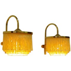 Pair of yellow Silk Fringe Wall lamps V271, 1960`s by Hans-Agne Jakobsson-Sweden