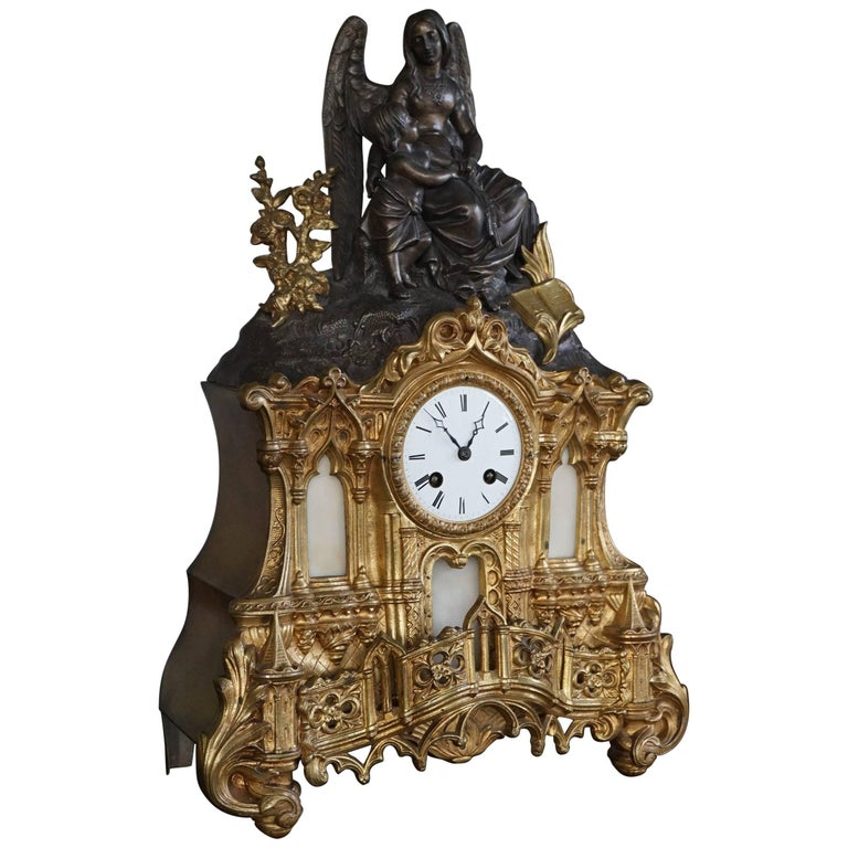 Gilt Bronze Gothic Rev. Heaven & Earth Mantel Clock w. Guardian Angel Sculpture For Sale