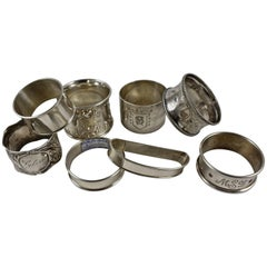 Sterling Silver Antique Napkin Rings, a Mixed Set of Eight