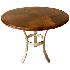 Goatskin and Aluminum Center Table