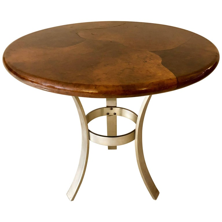 Goatskin and Aluminum Center Table For Sale